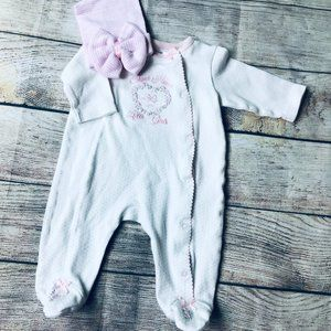 Baby Girl Little Me Footed Pajama + Newborn Hat